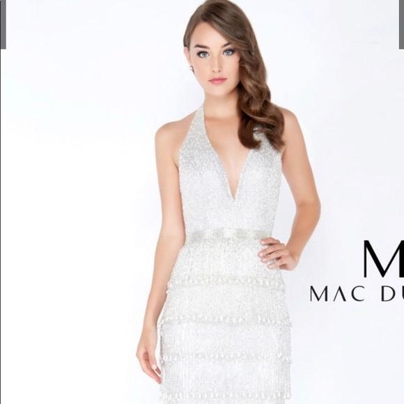 d1491820e6 Mac Duggal Dresses   Skirts - White fringe beaded long dress